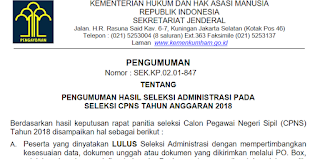Hasil Seleksi Administrasi Berkas CPNS Kemenkumham 2018 Khusus Lulusan SMA Provinsi Kepulauan Riau