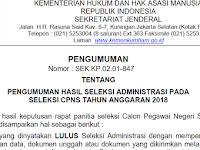 Hasil Seleksi Administrasi Berkas CPNS Kemenkumham 2018
