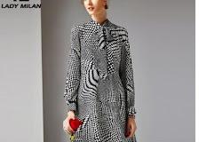 84947486c205 Lady Milan Women'S % Silk Runway Dresses Bow Collar Long Sleeves Dots  Printed Elegant Casual Dresses