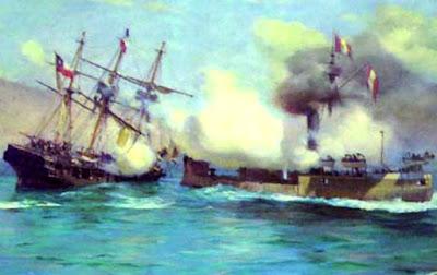 Imagen del enfrentamiento del Combate de Angamos