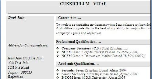 Resume Format For Freshers Bcom