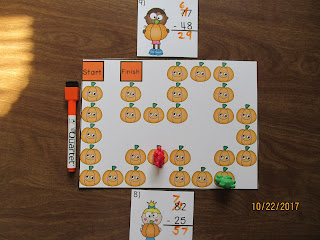 Subtraction 2 Digit Regrouping Pumpkin Task Cards