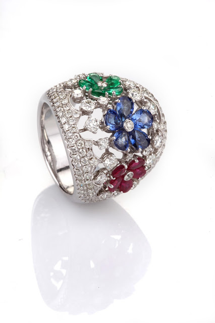 Entice floral diamond ring with rubies, emeralds & blue sapphire-