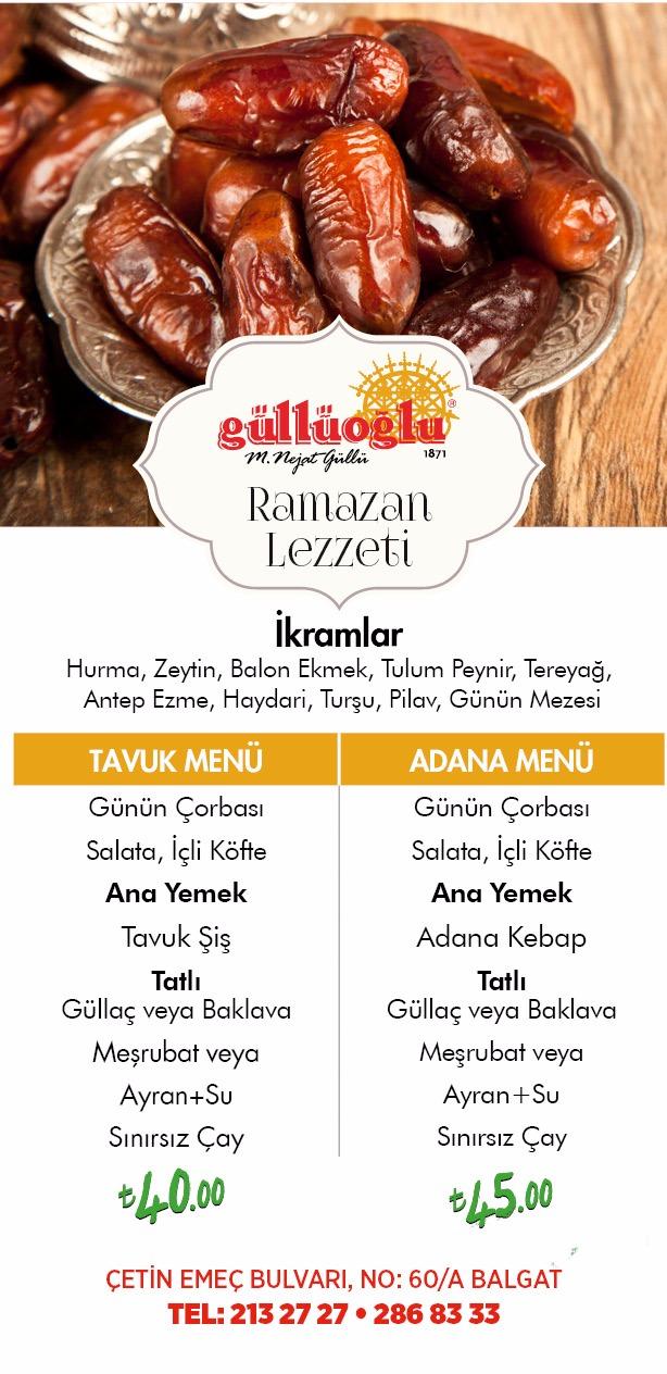 güllüoğlu balgat ankara  iftar menü