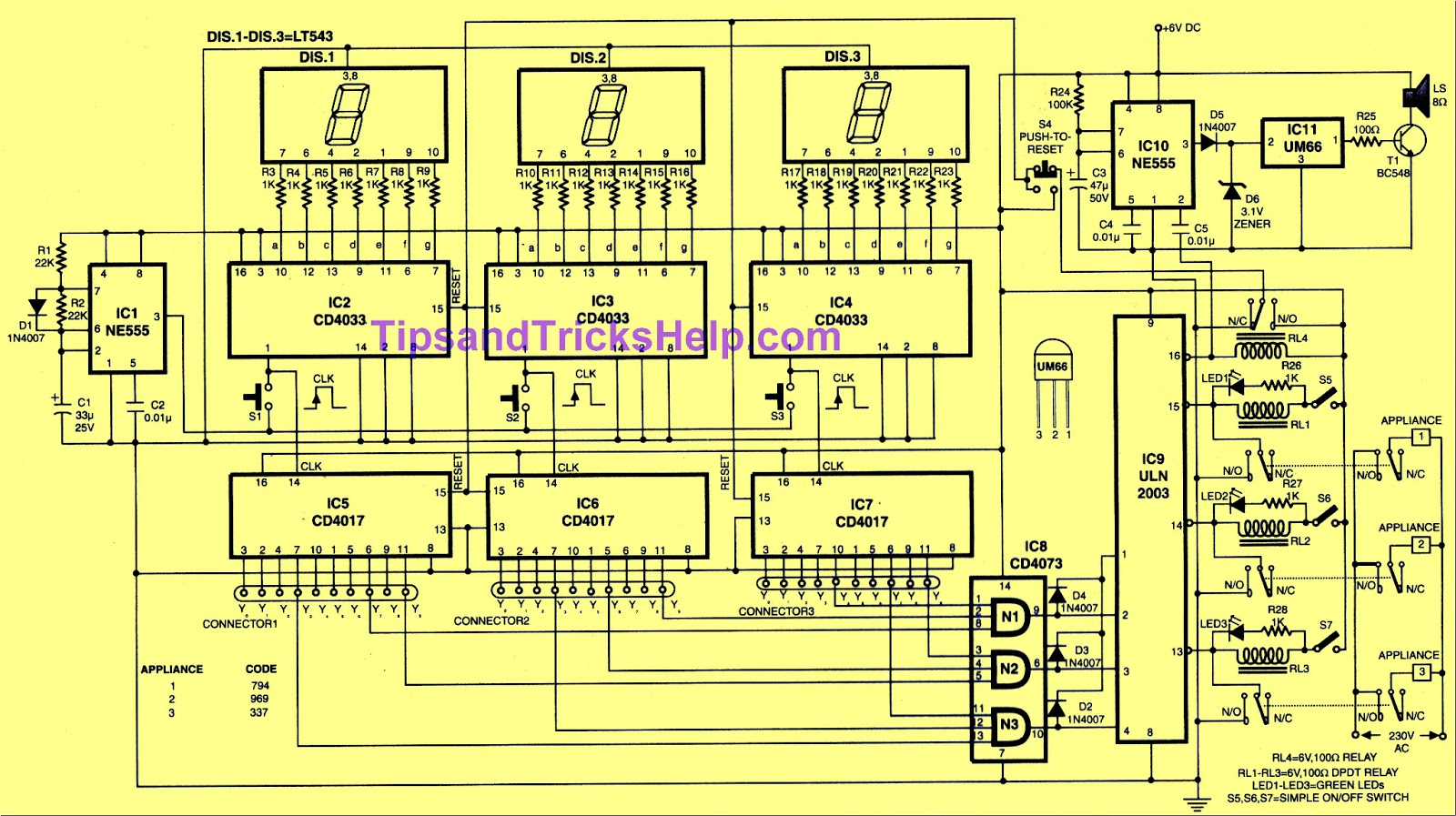 Tips And Tricks Help Simple Key Code Lock Switch Circuit Using Ic4017 Fig 1