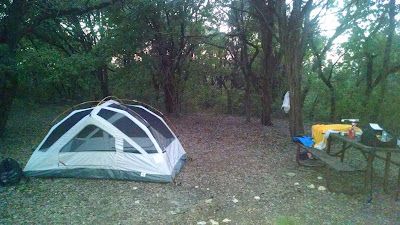 Tent set up next to picnic table in woods at dusk