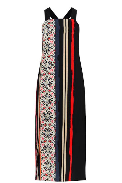 warehouse black red stripe dress,