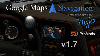 ets 2 google maps navigation night version for promods v1.7