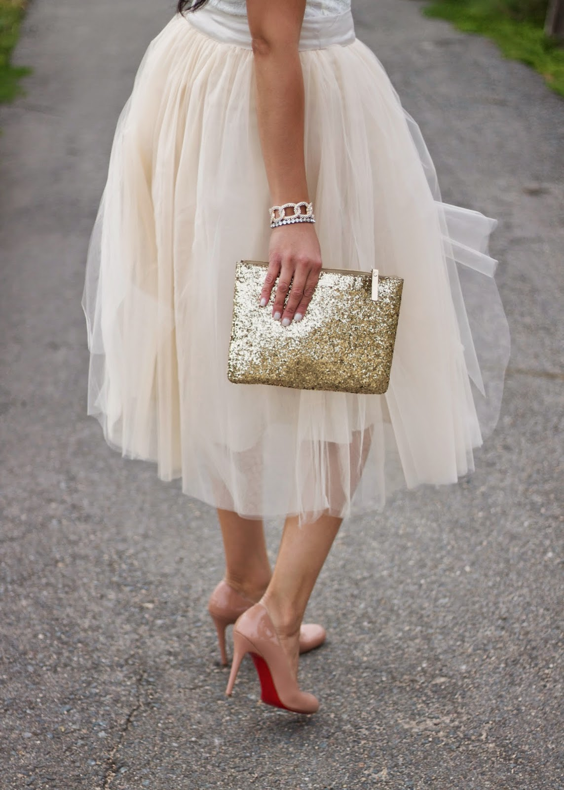 Simple Patent Red Sole Pump Nude, Christian Louboutin nude heels, christian louboutin patent pumps, gold and ivory tulle skirt, tutu and loubs