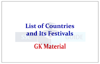 List of Countries and Its Important Festivals