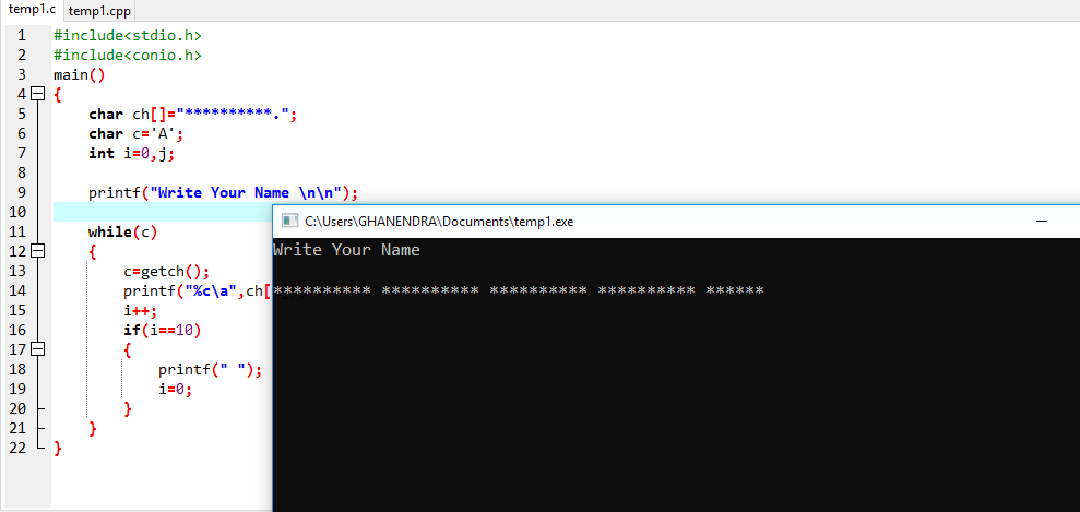 C Program For Convert All Input String Simultaneously Into Asterisk ( * )