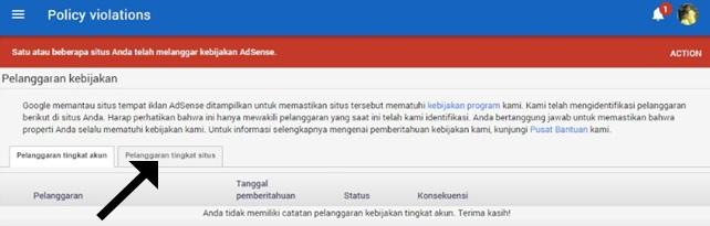 pelanggaran google adsense tingkat situs