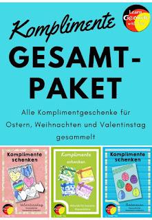 Komplimente schenken in der Grundschule. Bastelvorlagen und Anleitungen für eine Klassenaktion. Süße Herzen für nette Komplimente am Valentinstag.
