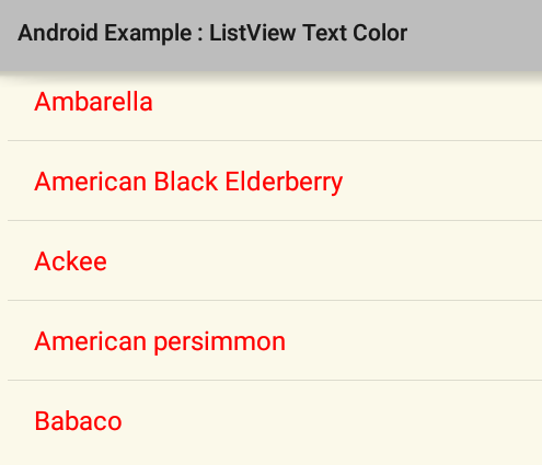 How to change ListView item text color in Android