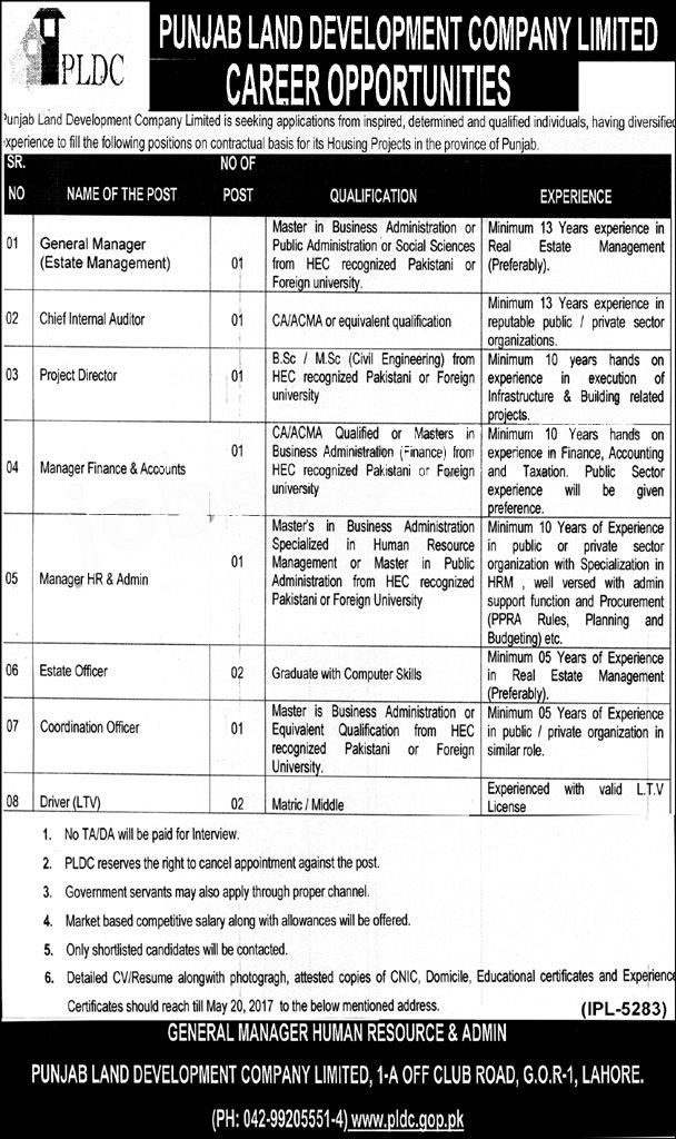 Jobs in Punjab Land Development Company Lahore PLDC 3 May 2017