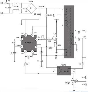 Hình 13 - Sơ đồ nguyên lý của khối nguồn sử dụng IC dao động và đèn công suất
