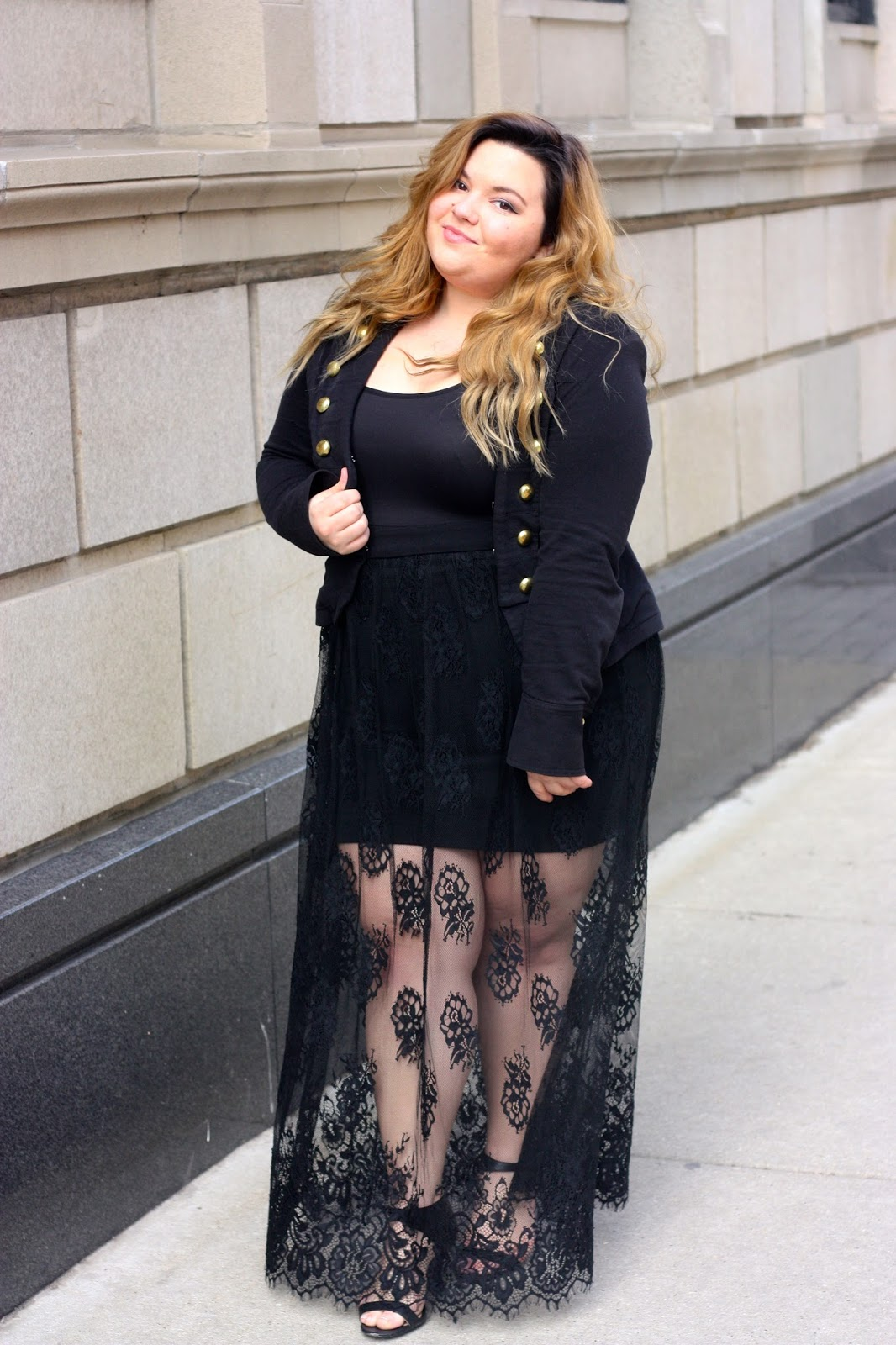 natalie in the city, natalie criag, plus size fashion, plus size fashion blogger, plus size see through maxi skirts, military jackets, gold button jackets, ootd, chicago, forever 21 plus, fashion