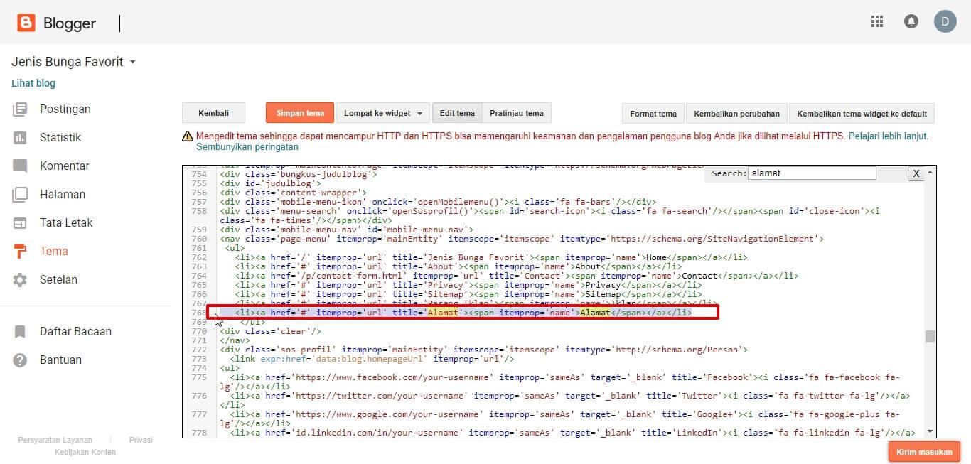 Mencari Kode template