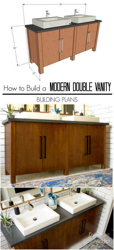 diy homemade how to make build bathroom washroom vanity cabinet sink building plans