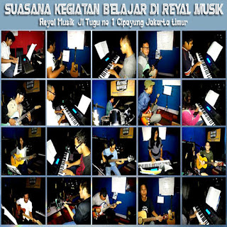 Suasana Belajar Gitar, Piano Keyboard, Bass, Drum Di Reyal Musik Jakarta
