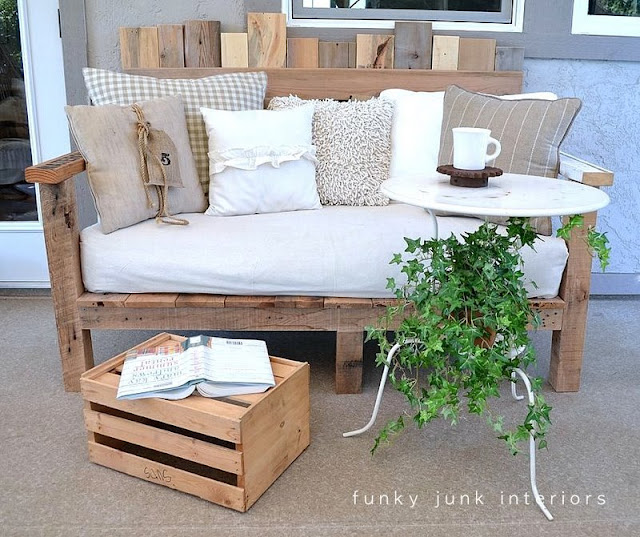 Pallet wood sofa and bistro table on FunkyJunkInteriors.net