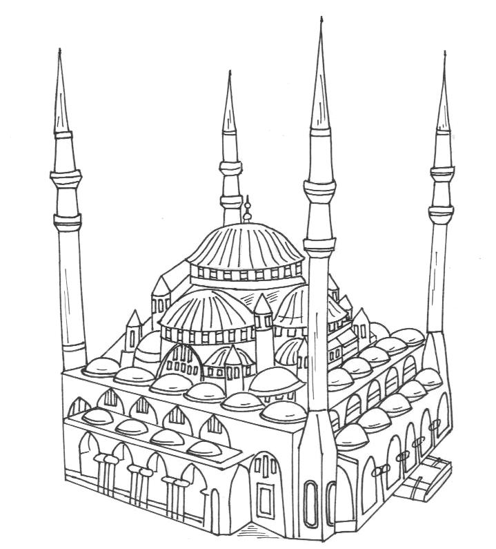 92 Gambar Gambar Masjid Hitam Putih Untuk Diwarnai Paling Keren