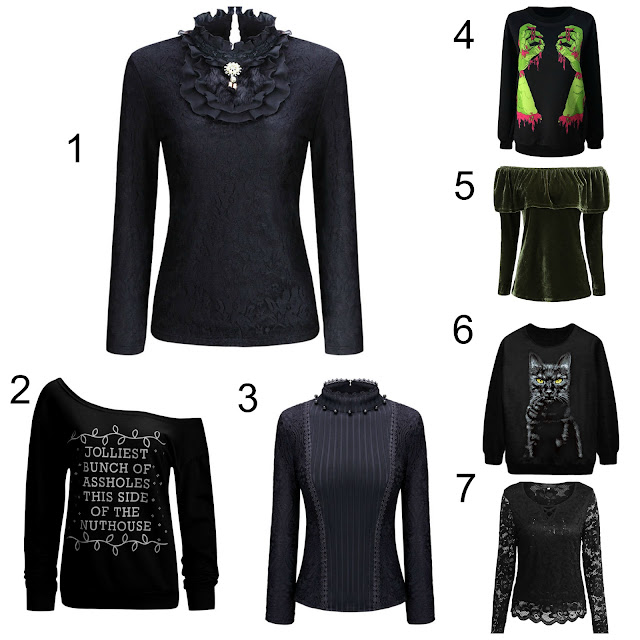 dark goth christmas tops