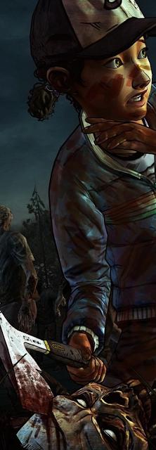 Una niña, Clementine, mata a un zombi de un hachazo en la cabeza en The Walking Dead.