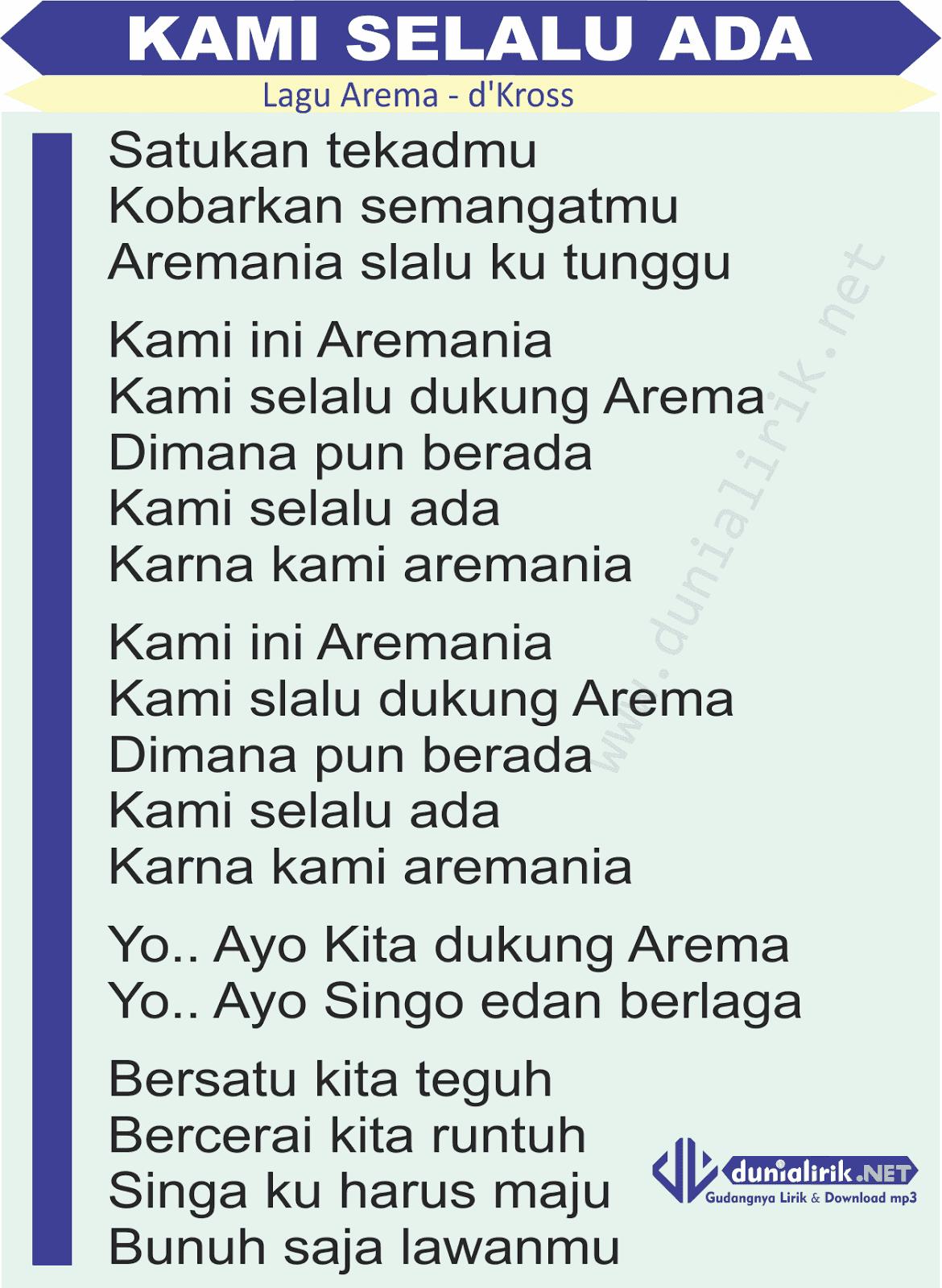 Download Lagu Aremania Mp3 : download, aremania, Lirik, Aremania, Selalu, Dukung, Arema), Download
