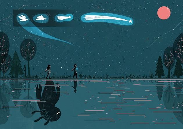 En la ilustración dos jovenes caminan a la orilla de un lago por la noche mientras las palomas se transforman en estrellas fugaces. Hay luna llena.