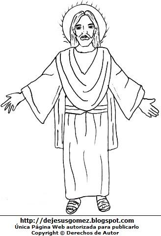 Dibujo de Jesús para colorear pintar imprimir. Imagen de Jesús hecho por Jesus Gómez
