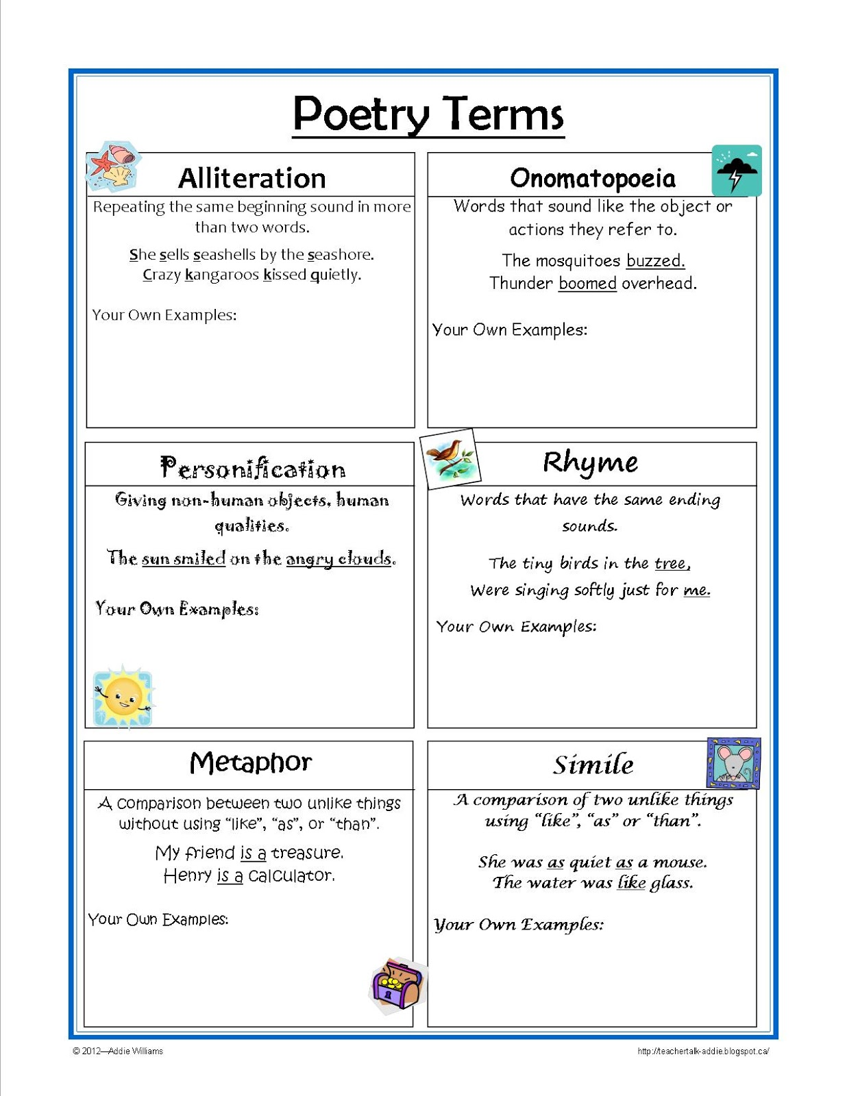 Classroom Freebies Too Figurative Language Reference Sheet