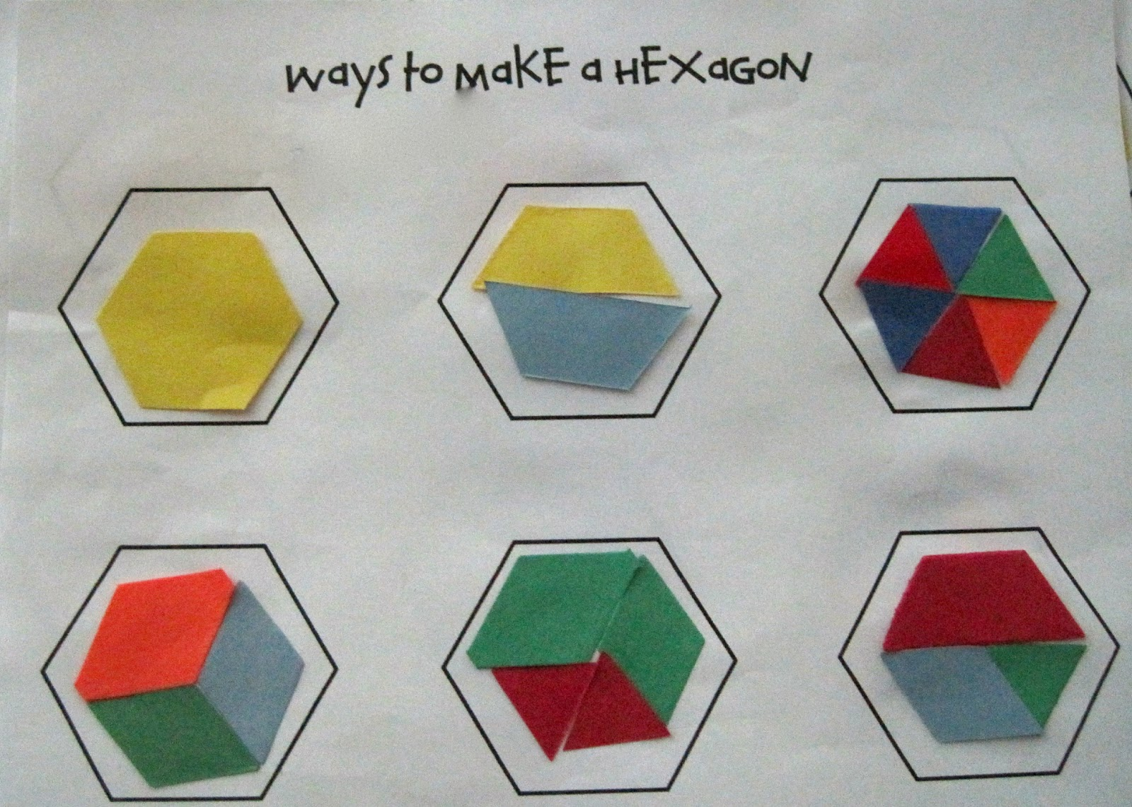 Kindergarten SuperKids: Ways to Make a Hexagon