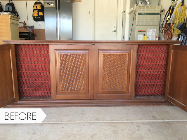 before and after, up cycled radio cabinet, old cabinet turned into medial console, how to up-cycle a TV console.
