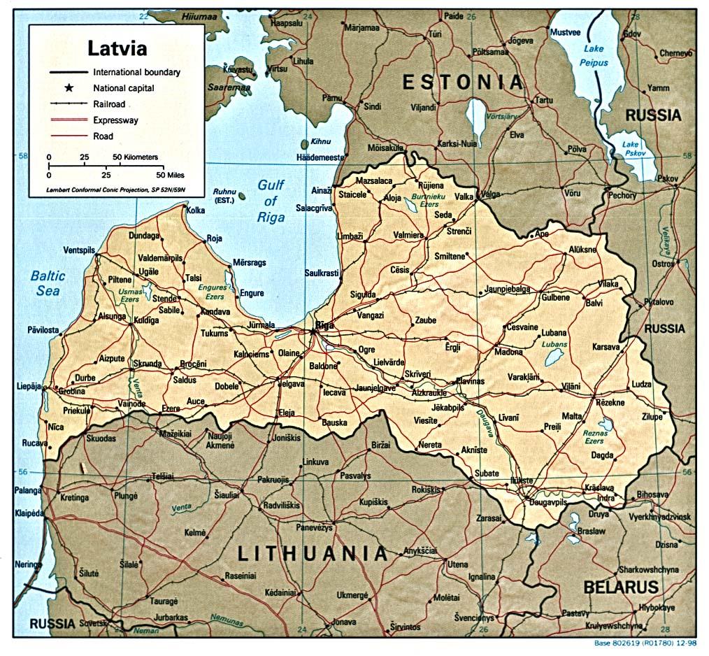 Letônia |  Mapas Geográficos da Letônia