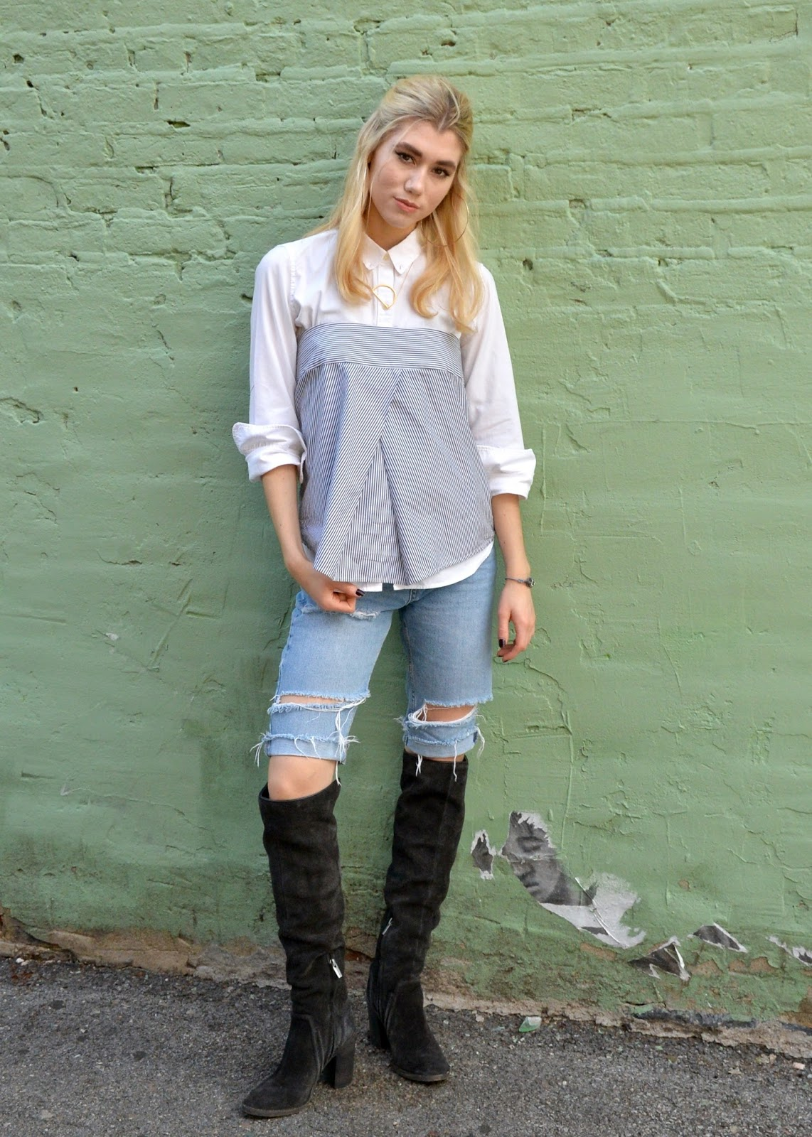 I am wearing a fall layered outfit with Over the Knee Boots.