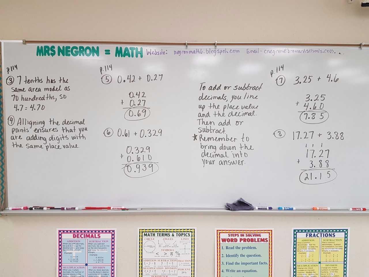 6th Math Worksheet Adding Decimals