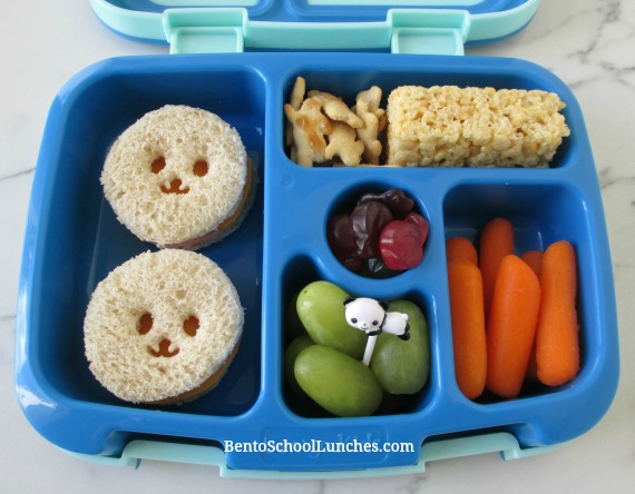 Panda circle sandwiches school lunch in leak proof Bentgo lunchbox