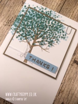 Handmade tree card created in blues and greens using scraps and the Sheltering Tree stamp set by Stampin' Up!