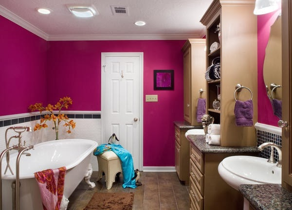 Here Is A Bathroom Design That Combines Several Agers Traditional And Contemporary Elements Make It More Fun Dark Pink Color Can Be D With