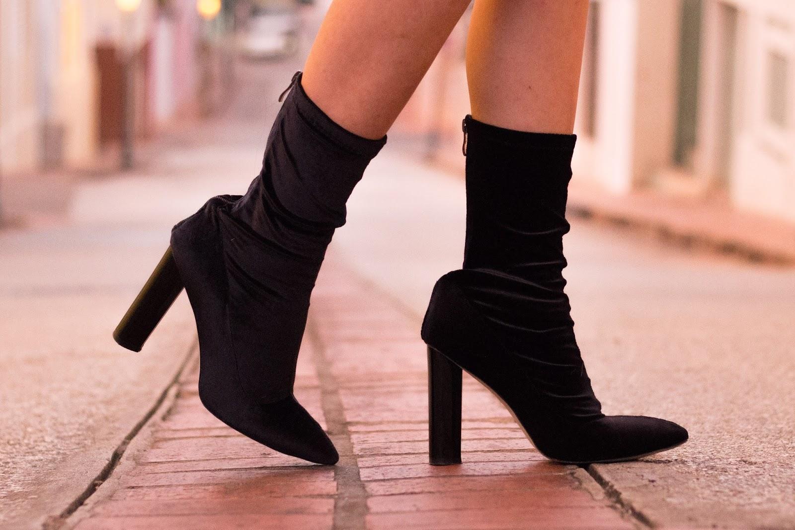 velvet ankle sock boots