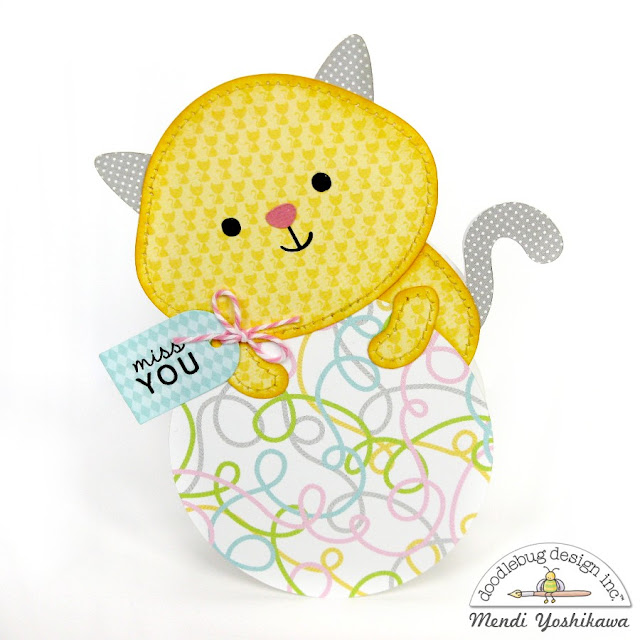 Doodlebug Design Kitten Smitten Shaped Cards by Mendi Yoshikawa using New Cutting Files