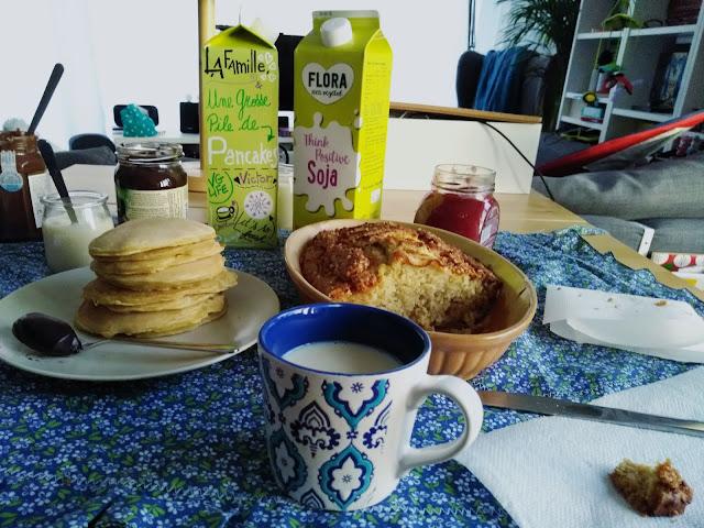 recettes, gâteau, pommes, pancakes, végétaliens, facile, boisson, soja, Flora