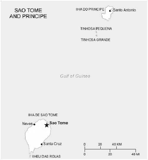 image: Black and white Sao Tome and Principe Map