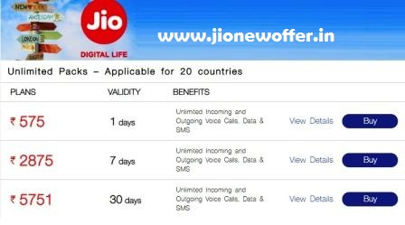 Jio International Roaming Pack