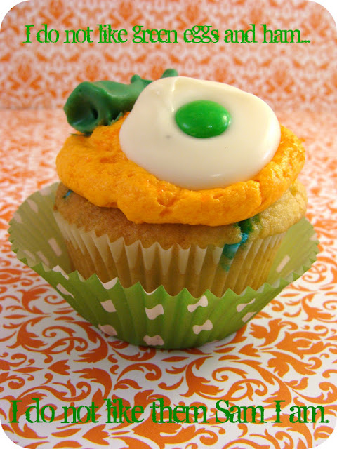 Marci Coombs: Green Eggs and Ham cupcakes.