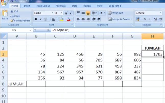Aneka rumus penjumlahan di microsoft excel Aneka Rumus Penjumlahan di Excel