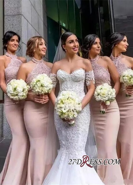 Elegant Halter Lace Mermaid Bridesmaid Dresses | 2019 Long Maid Of Honor Dress