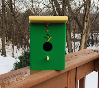 Spring Green/Yellow Handmade outdoor backyard Birdhouse. Click image for Purchase info.