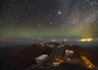 Comet Lovejoy, Meteor, Pleiades, California Nebula and Milky Way seen over La Silla Observatory